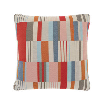 Gobelin cushion with multi-coloured geometric pattern