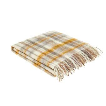 Mohair-effect throw with tartan pattern