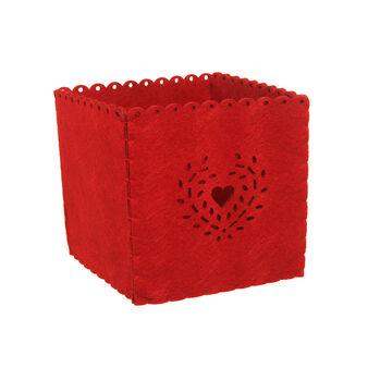 Felt basket with openwork heart