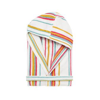 Yarn-dyed, striped bathrobe in cotton velour