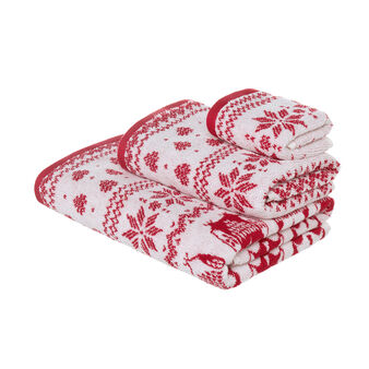 100% cotton terry towel with Christmas owls pattern