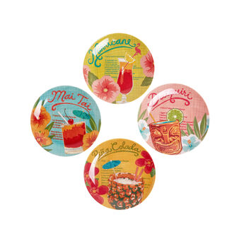 Tropical cocktail side plates in melamine x4