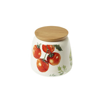 Porcelain jar with adhesives