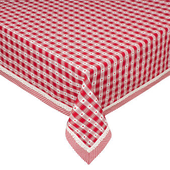 100% cotton tablecloth with check jacquard weave