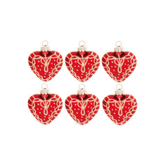 Set of 6 heart-shaped glass decorations D 3cm