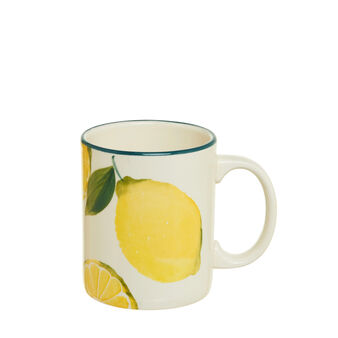 Ceramic mug with lemon decoration