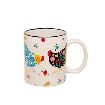 Ceramic mug with hen decoration