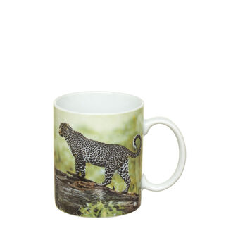 Porcelain mug with leopard print