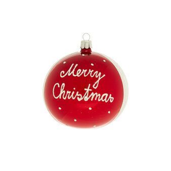Glass bauble with Merry Christmas lettering