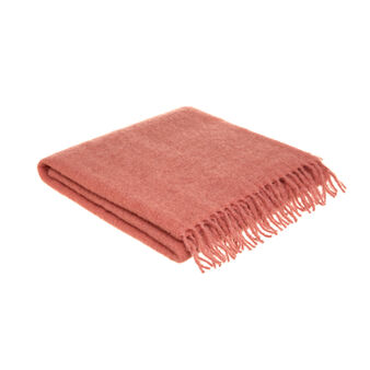 Wool blend bouclé throw with fringes