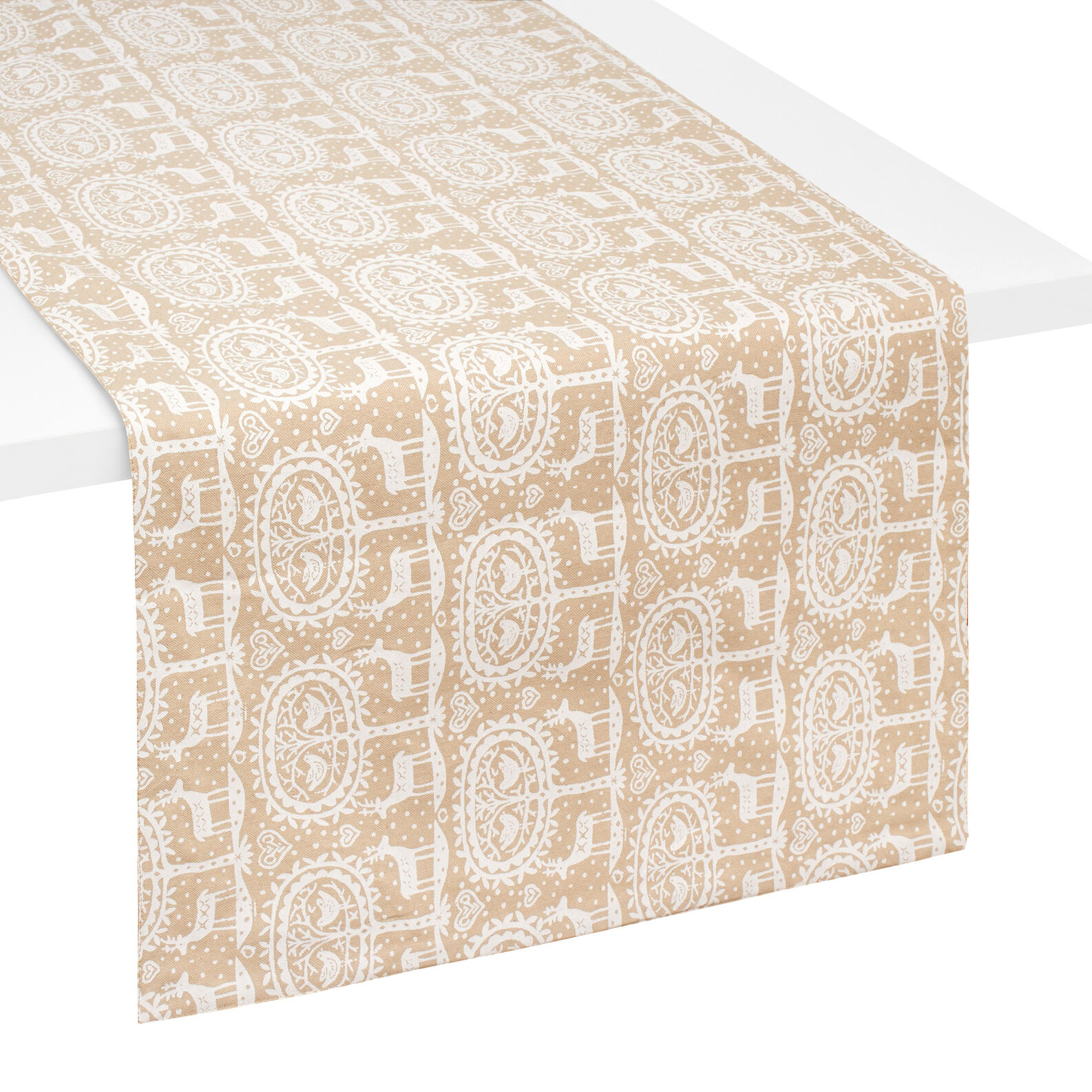 100 cotton table runner with reindeer print coincasa