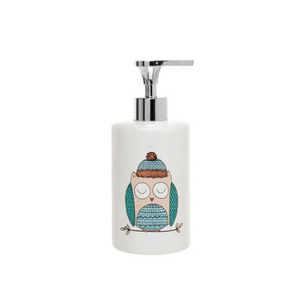 Ceramic dispenser with owl screen print