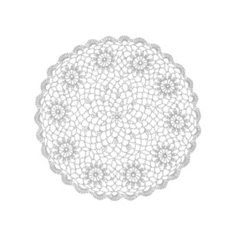 Crocheted round table mat in 100% cotton