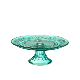 Turquoise glass cake stand