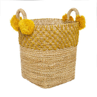 Seagrass basket with pompoms