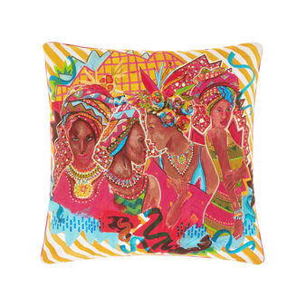 100% cotton cushion with afro and striped print