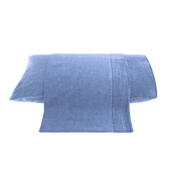 Denim-effect cotton flat sheet.
