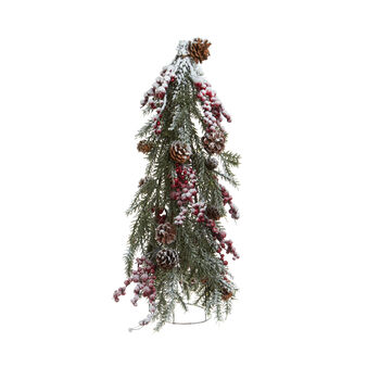 Snow-covered, conical pine shoot H 60 cm