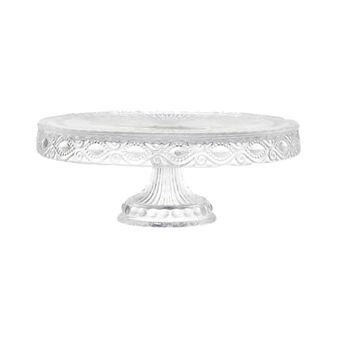 Decorated glass cake stand