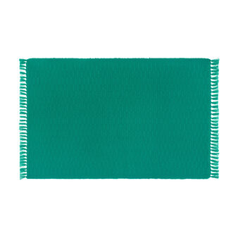 Set of 4 table mats in 100% cotton with fringe
