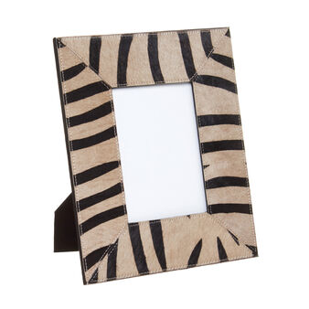 Photo holder in leather with zebra pattern