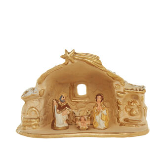 Hand made ceramic Nativity hut H 14cm