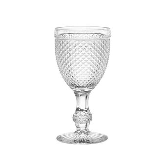 Faceted glass wine goblet