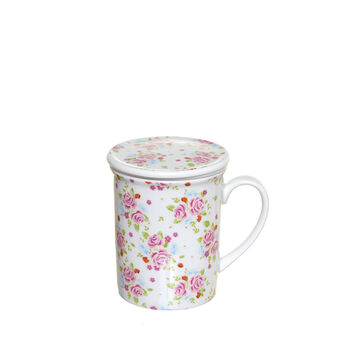 Porcelain infuser cup with floral decoration