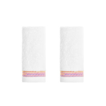 Set of 2 multi-striped 100% cotton terry face cloths