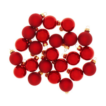 Set of 24 Christmas baubles in red glass D 3cm