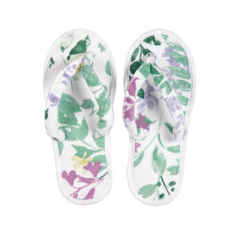 100% cotton flip flop slippers with botanical pattern