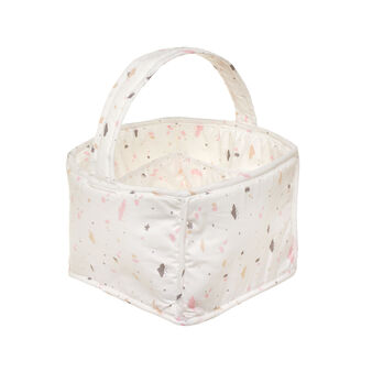 Storage basket in 100% cotton with cloud print