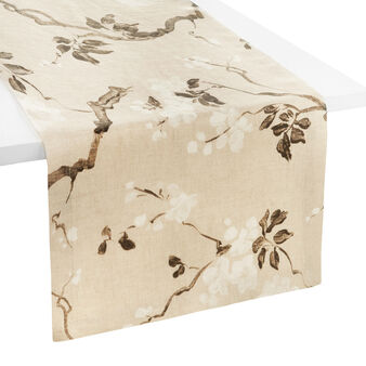 Peach tree 100% linen runner with soft hand