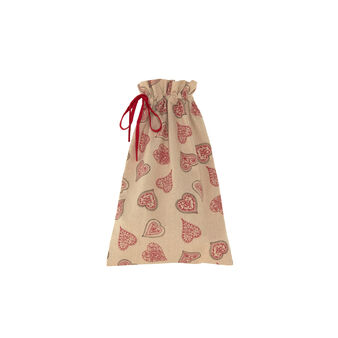 Cotton gift sack with Fancy Hearts print