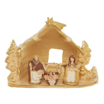 Hand made ceramic Nativity hut H 19cm