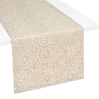 Cotton table runner with lace-effect print