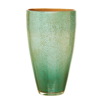Golden white pulegoso glass vase