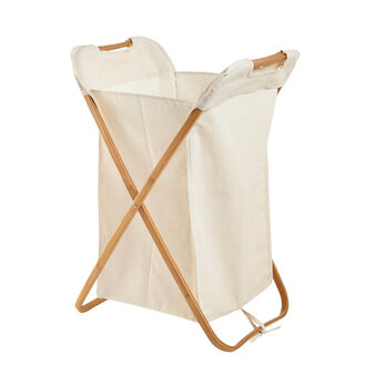 Bamboo and fabric laundry hamper