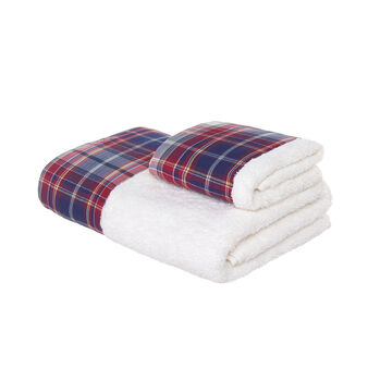 Set consisting of solid colour face towel and guest towel in 100% cotton terry with tartan edging