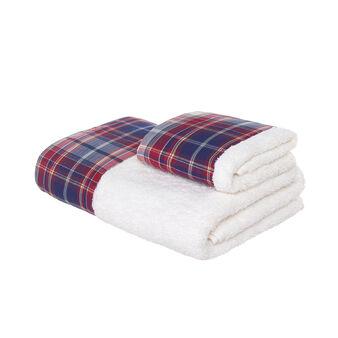 Set asciugamano viso e ospite in spugna di puro cotone con bordo tartan