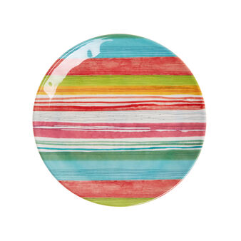 Multi-stripe melamine dinner plate