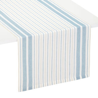 Striped linen and cotton table runner
