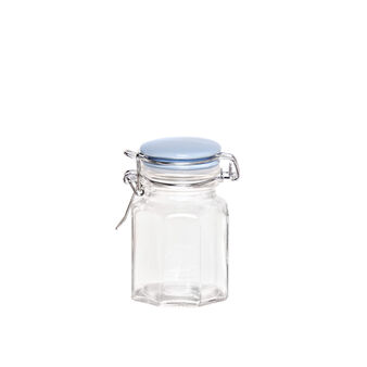 Glass spice container with light blue hermetically-sealed lid