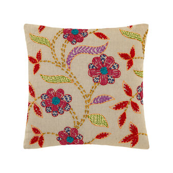 Cushion in 100% linen with hand-stitched embroidery