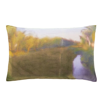 Set due federe lino paesaggio acquerello