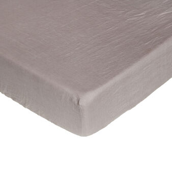 Plain fitted sheet in 145 g linen