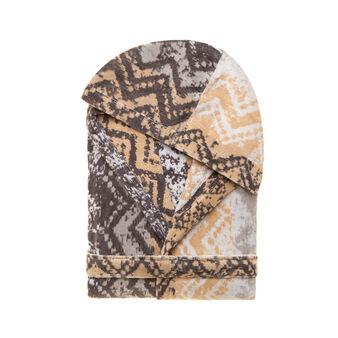 Patterned velour bathrobe in 100% cotton
