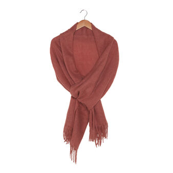 Wool blend stole with fringes