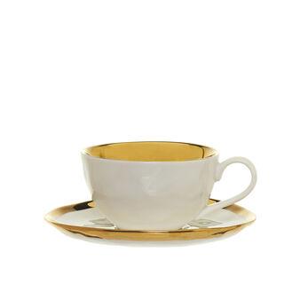 Tazza da tè in porcellana con interno oro