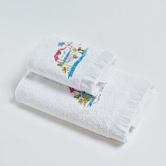 100% cotton towel embroidered with feathers